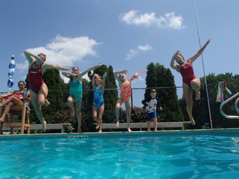 Pingree Summer Campers in the pool